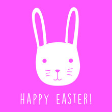 Happy Easter Egg Greetings Card. Illustration Of Cute Bunny Drawn By Hand In Doodle Style Vector