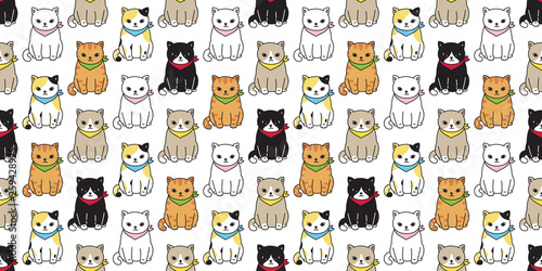Cat Seamless Pattern Vector Calico Black Kitten Ginger Pet Repeat Wallpaper Cartoon Tile Background Scarf Isolated Illustration Buy This Stock Vector And Explore Similar Vectors At Adobe Stock Adobe Stock