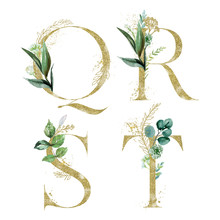 Gold Floral Alphabet Set - Letters Q, R, S, T With Green Botanic Branch Bouquet Composition. Unique Collection For Wedding Invites Decoration And Many Other Concept Ideas.