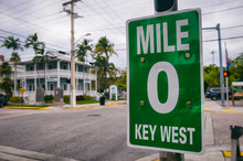 Mile Marker 0 (zero) Sign Marking The Start Of US Route 1, The Highway That Runs On The East Coast From Florida To The Canadian Border In Maine In Key West