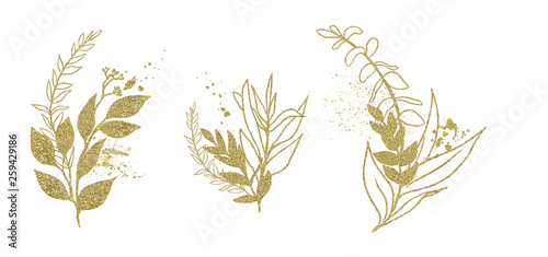 Fototapety, obrazy: Watercolor floral illustration set - gold leaf branches, for wedding stationary, greetings, wallpapers, fashion, background. Eucalyptus, olive, green leaves, etc.