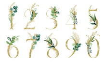 Gold Floral Number Set - Digit...