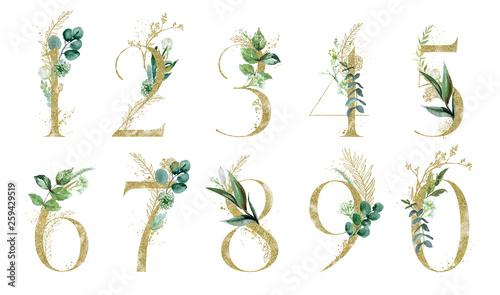 Fotografie, Obraz Gold Floral Number Set - digits 1, 2, 3, 4, 5, 6, 7, 8, 9, 0 with green botanic branch bouquet composition