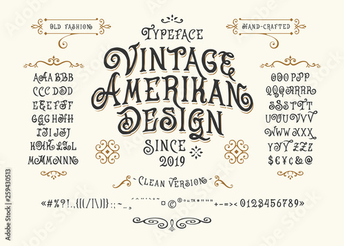 Font Vintage American Design Wallpaper Mural
