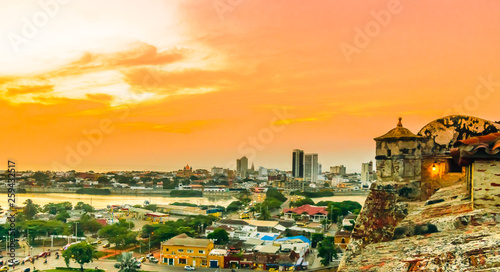 Fotografiet  Sunset view over cityscape of Cartagena from fortress San Felipe - Colombia