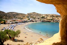 View From A Cliff To Greek Matala Beach. Summer Hollidays And Vacation In Greece, Crete.
