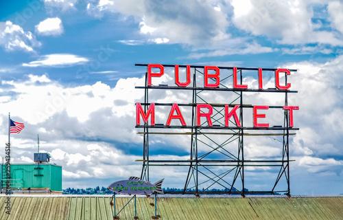 Fotografie, Obraz  SEATTLE, WASHINGTON - May 19, 2016:  Pike Place Market is a public market overlooking the Elliott Bay waterfront in Seattle, Washington