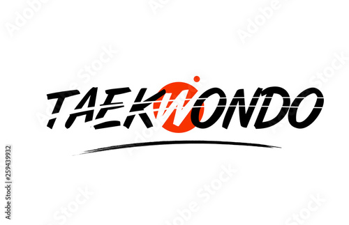 Photo taekwondo word text logo icon with red circle design