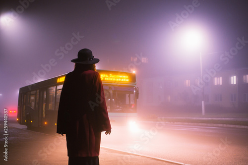 Fotografía  Woman silhouette on background of the night city in fog
