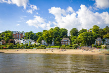 Summer View Of The Beach (Strand Oevelgoenne) On The Elbe River In Oevelgoenne District Of Hamburg City, Germany.