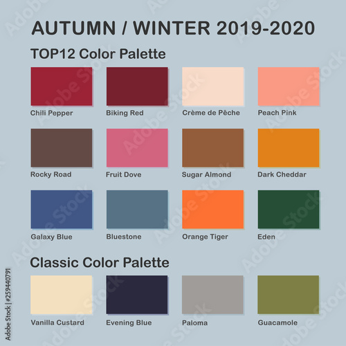 Fall Color Trends 2020.Autumn Winter 2019 2020 Trendy Color Palette Fashion