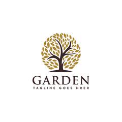 Luxury Garden logo designs concept, Abstract Tree logo template