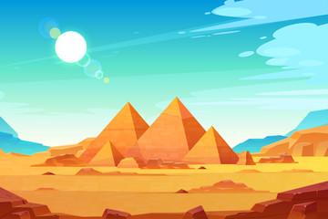 Giza plateau krajobraz z egipskim pharaohs piramid kompleksem iluminującym z jaskrawym światła słonecznego kreskówki wektoru tłem. Starożytne historyczne, słynne atrakcje turystyczne w afrykańskiej pustyni