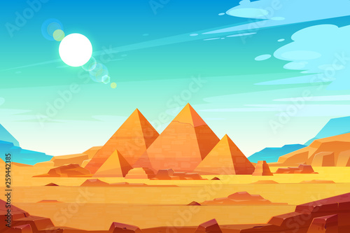 Photo sur Aluminium Bleu clair Giza plateau landscape with egyptian pharaohs pyramids complex illuminated with bright sunlight cartoon vector background. Ancient historical, famous touristic attractions in african desert