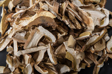 Close Up Of Lot Of Slices Of Dry Brown Mushroom