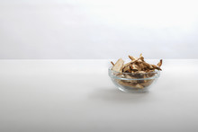 Sliced Dried Mushrooms In A Small Glass Bowl
