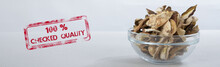 Sliced Dried Mushrooms In A Small Glass Bowl. Rubber Stamp 100% CHECKED QUALITY