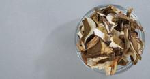 Top View Of Lot Of Slices Of Dry Brown Mushroom Boletus Edulis