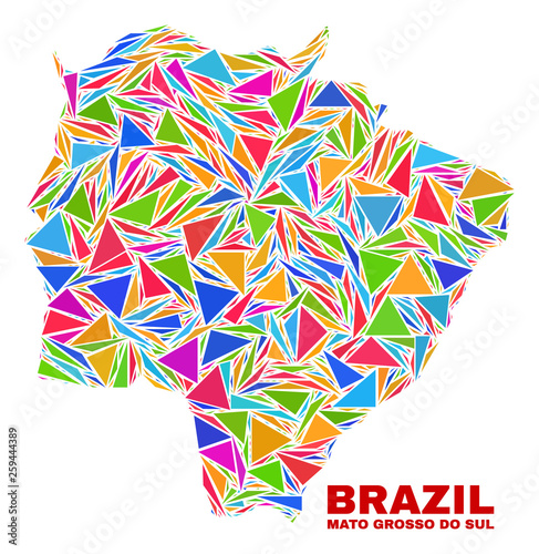 Fotografija  Mosaic Mato Grosso do Sul State map of triangles in bright colors isolated on a white background