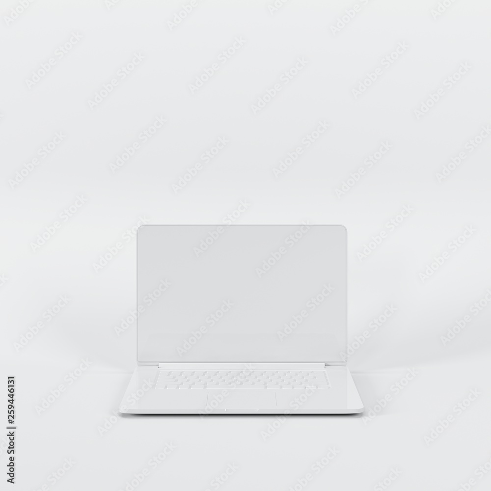 Fototapety, obrazy: Outstanding white laptop on white background. All white minimal concept.