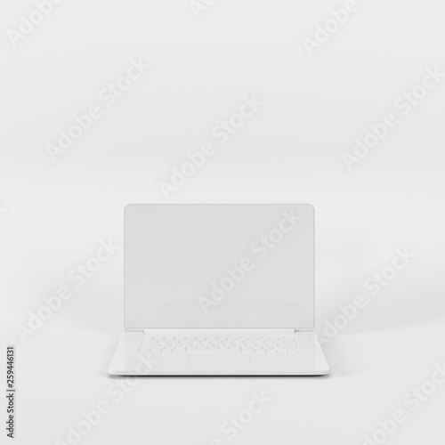Fotografia  Outstanding white laptop on white background