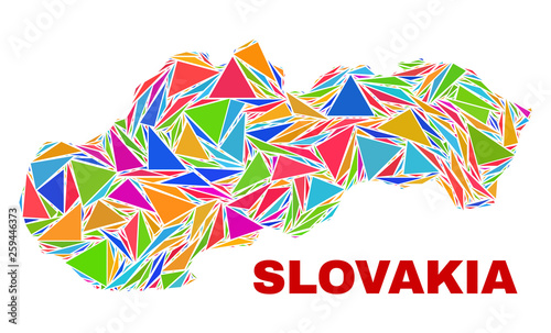 Fototapeta Mosaic Slovakia map of triangles in bright colors isolated on a white background