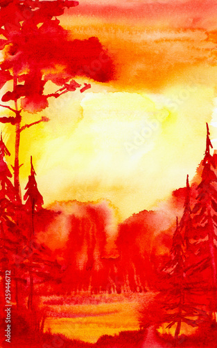 Rouge traffic Watercolor illustration of a beautiful bright red summer forest landscape