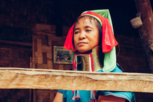 Portrait Of Long Neck Woman In Traditional Costume. Karen Long Neck Tribe Northern Thailand.