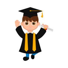 Cute Graduated Boy Image. Vect...
