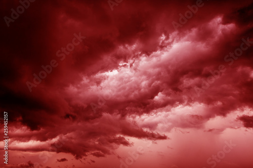 Fototapeta Terrible blood-red apocalyptic heaven from hell