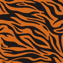 Tiger Texture Abstract Background Orange Black. Vector Jungle Strip