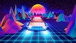 canvas print picture 3D RENDER, flying car of the future, retrowave style back to the 80's.