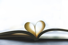 Close Up Heart Shape Book Opened With Nature Lighting