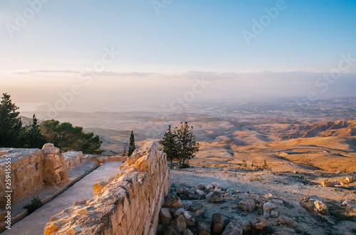 Canvastavla  The Mount Nebo in Jordan on sunset