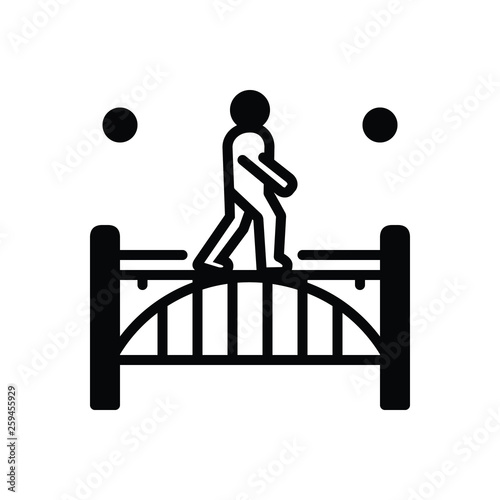 Black solid icon for footbridge Wallpaper Mural
