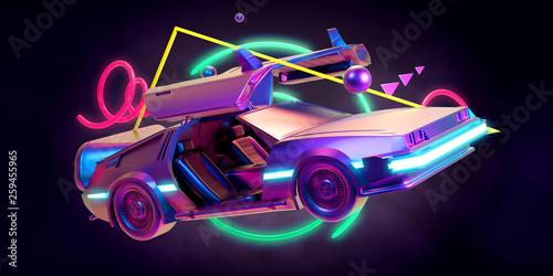 Fototapeta Future car, retro 80th obraz na płótnie