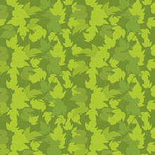 Hop Green Leaves Background Template. Plant Solid Fill. Vector Flat Illustration. Square Banner Format Stock Clipart. Dark Green Khaki Colour.