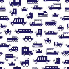 Cute cars. Children's vector seamless pattern. Can be used for wallpaper, tex...
