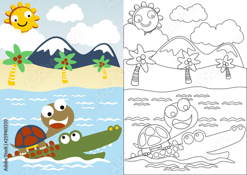 turtle and crocodile playing in the beach, coloring book or ...