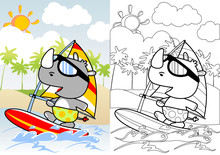 Funny Rhinoceros The Windsurfing Player, Vector Cartoon, Coloring Book Or Page