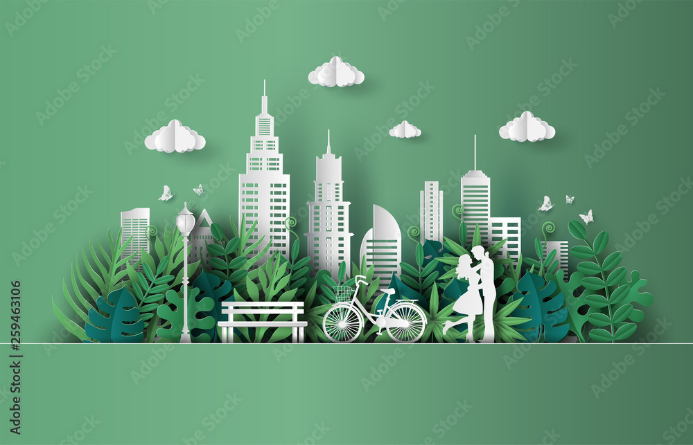 Fototapety, obrazy: Paper art and craft style of cute couple in love hugging, eco green city, save the planet and energy concept, flat-style vector illustration.