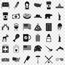 America Icons Set. Simple Style Of 36 America Vector Icons For Web For Any Design