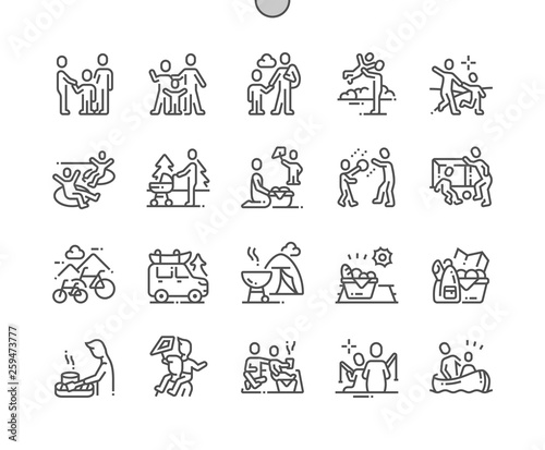 Obraz Family outdoor recreation Well-crafted Pixel Perfect Vector Thin Line Icons 30 2x Grid for Web Graphics and Apps. Simple Minimal Pictogram - fototapety do salonu