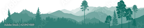 Poster Blanc cyan illustration with mountain forest