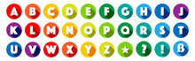 Lettres De L'alphabet Dans Cercles Multicolores
