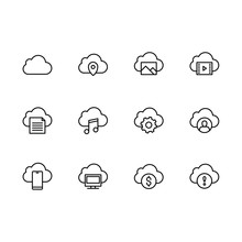 Simple Set Cloud Storage Illustration Line Icon. Contains Such Icons Data Synchronization, Cloud Storage And Security Of Photo, Image Music And Video, Documents, Personal Data And Other
