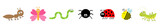 Fototapeta Fototapety na ścianę do pokoju dziecięcego - Cute cartoon kawaii insect set line. Ladybug, butterfly, worm, ant, spider, honey bee, grasshopper. Flat design. Isolated. White background.