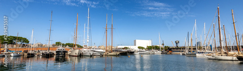 Port Vell - Waterfront harbor in Barcelona Spain Canvas Print