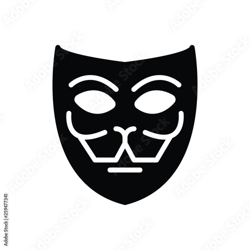 Photo Black solid icon for mask fa�ade