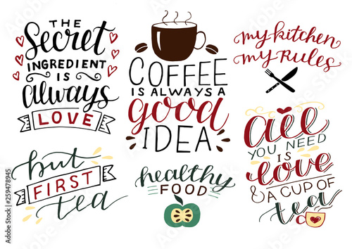 Stampa su Tela 6 hand-lettering quotes about food All you need is love and cup of tea